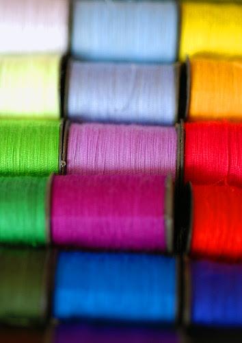 Colourful spools of cotton