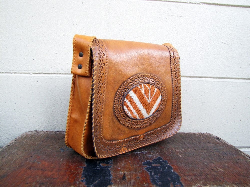 Vintage 70s Hippie Western style embossed Mini Messenger purse with mod carpet front