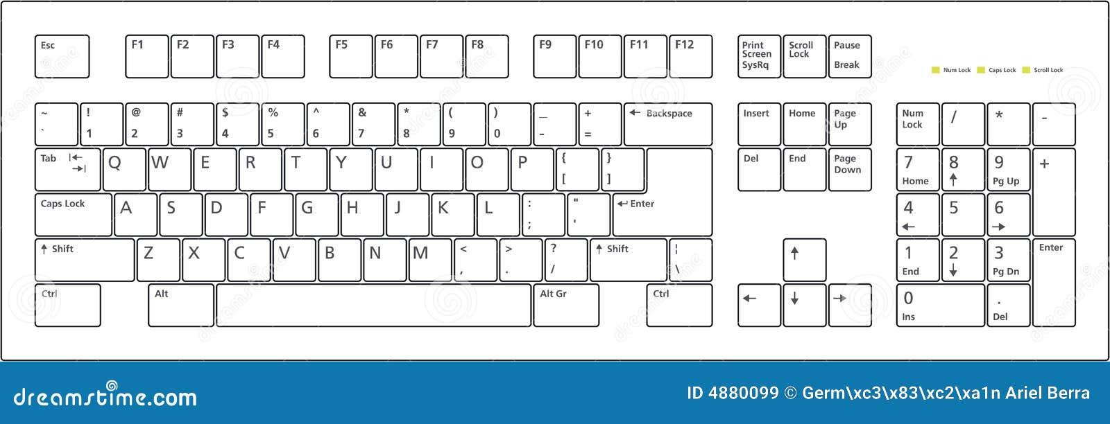 Keyboard Layout 101 Keys Royalty Free Stock Images - Image: 4880099