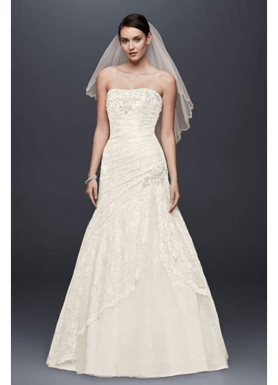 Lace Wedding Dress with Side Split and Corset Back   David