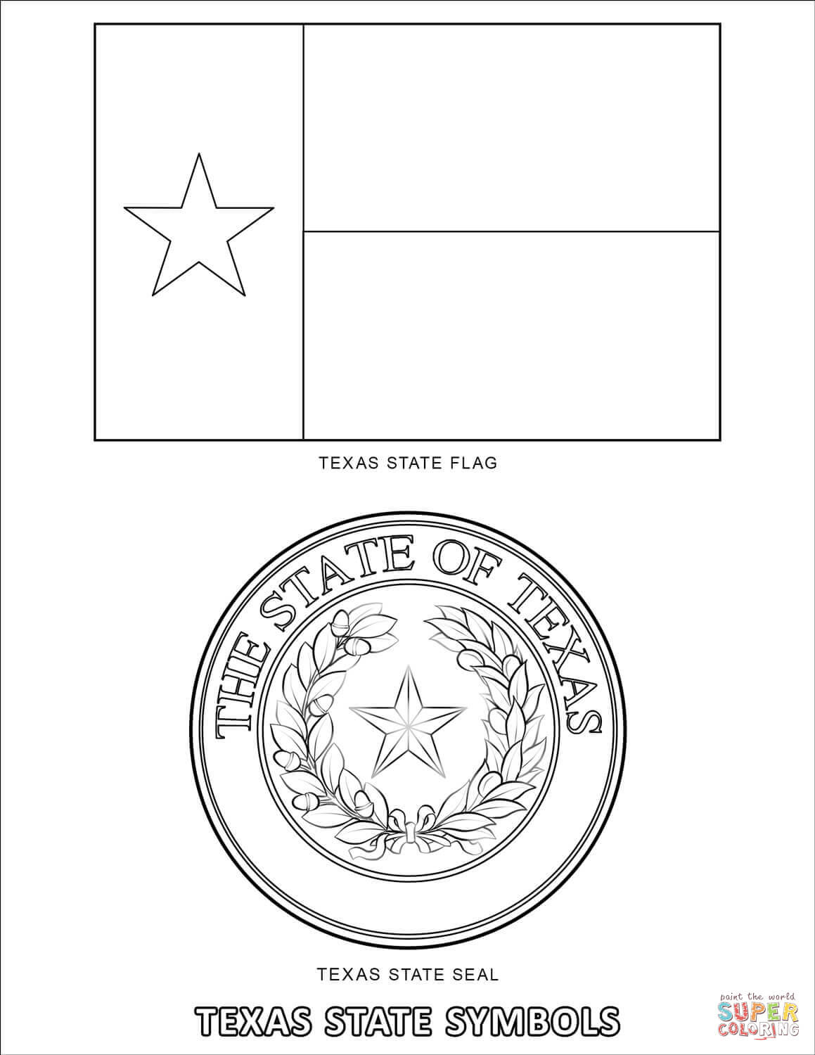 texas symbols coloring pages - photo#20