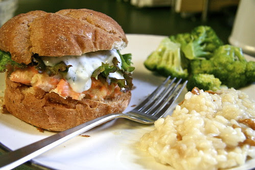 Salmon Burger with Greek Yogurt and Dill