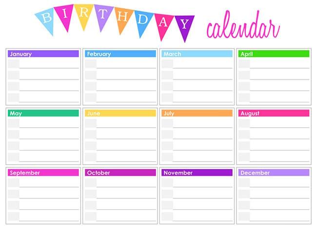Editable Birthday Calendar Template