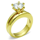 1.3Ct Round Cubic Zirconia Gold IP Stainless Steel Wedding