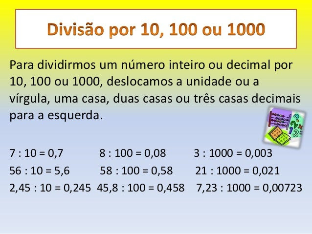 Resultado de imagem para divisão por 10 100 1000