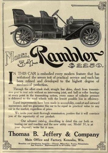 1907 Advert - Rambler Model 34 Motor Cars by CharmaineZoe
