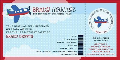 Plane Ticket Invitation Template Free   Zion   Pinterest ...