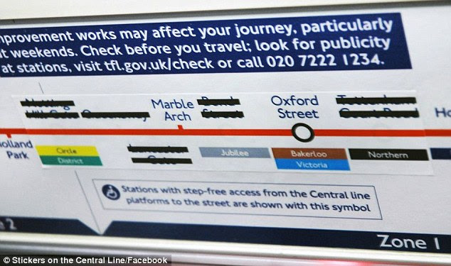This joke sticker might have caused some confusion among passengers on the Central Line after the names of stations were blacked out