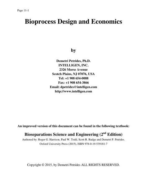 (PDF) BioProcess Design and Economics, 2nd Edition