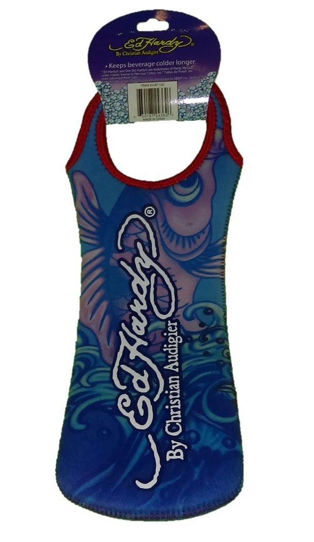 Ed Hardy Designs By Christian Audigier Neoprene One-Bottle Wine Beverage Tote (Tattoo Ocean Koi Fish)
