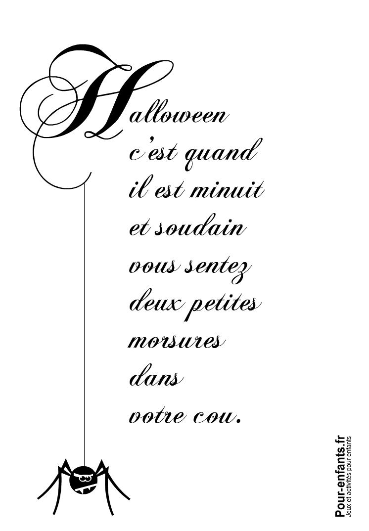 Imprimer Halloween c'est quand texte amusant avec dessin d'araignée à imprimer
