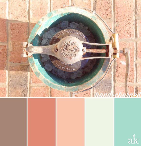 an ice-cream-churner-inspired color palette // soft brown, pale coral, peach, mint, aqua