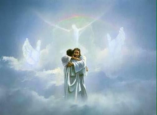 [Drawing of person hugging Jesus in heaven]