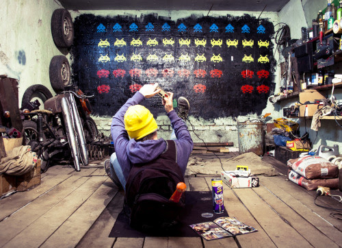 Space Invaders Graffiti by Eugene Punkussian