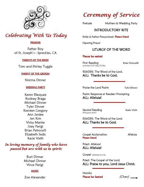 Catholic Wedding Ceremony Program sample: Page 2 Inside of