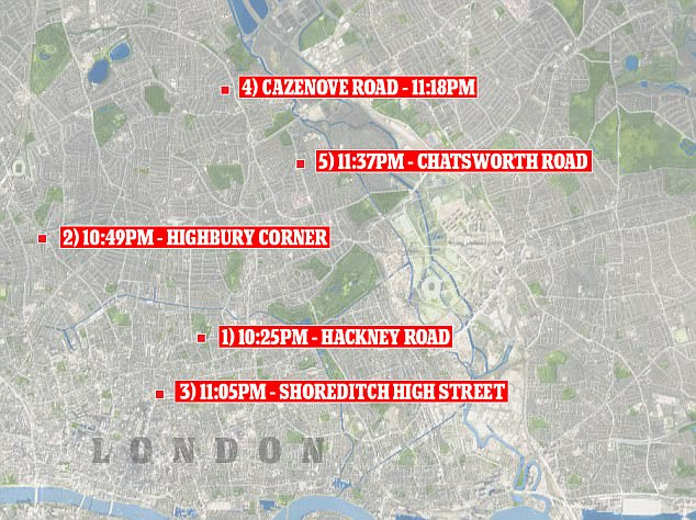 Map: This graphic illustrates where the shocking acid attacks took place last night