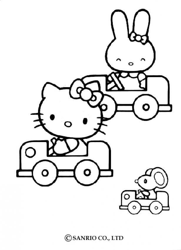 Coloriages Coloriage De Hello Kitty En Voiture Frhellokidscom