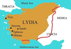 Map of the Lydian Empire in its final period o...