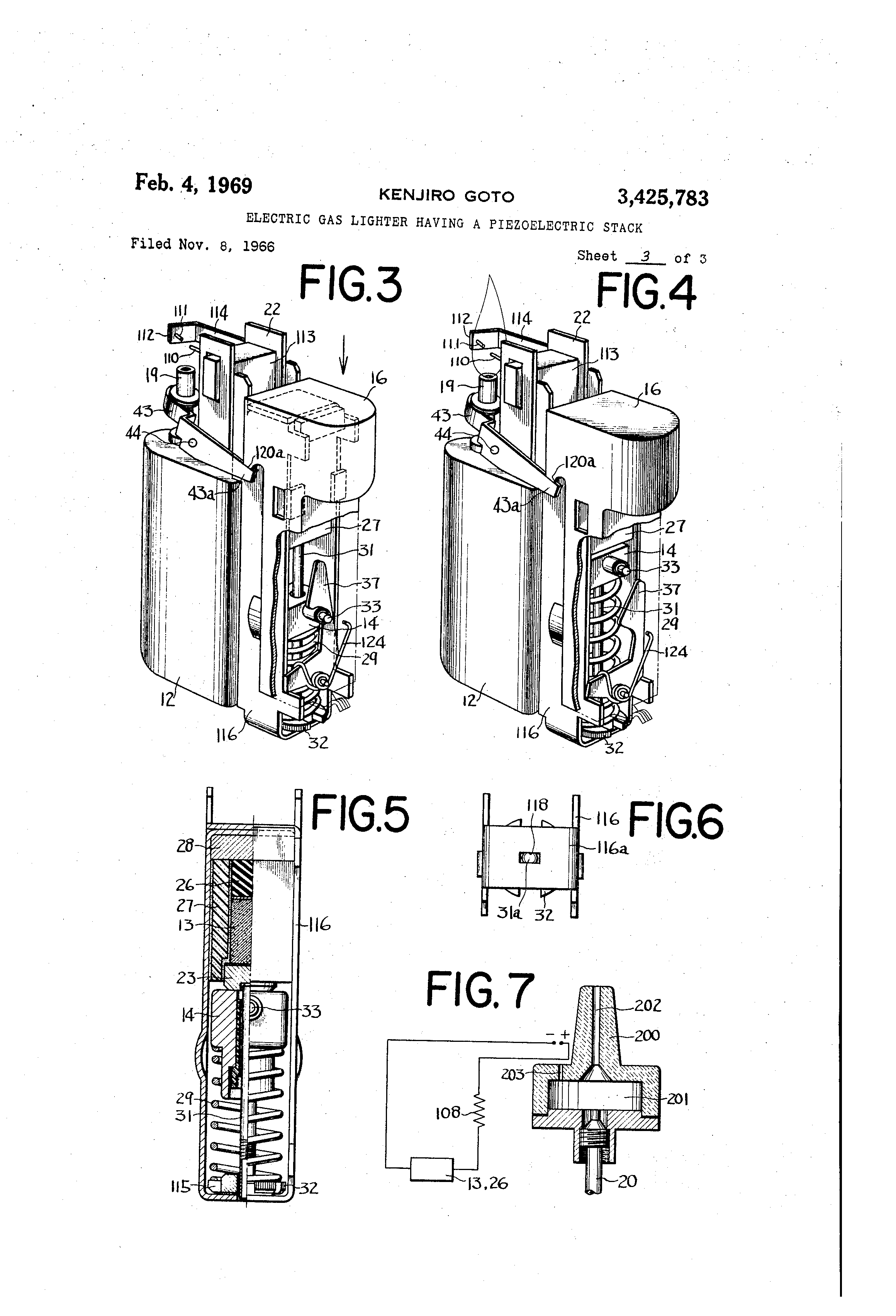 Patent US3425783 - Electric gas lighter having a ...