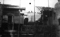 A beomlott épület Nagyváradon. Külön jeleztük a beszakadt mennyezet helyét, ahol a munkások halálukat lelték