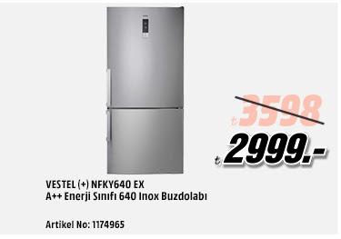 VESTEL (+) NFKY640 EX A++ Enerji Sınıfı 640 Inox Buzdolabı 2999TL