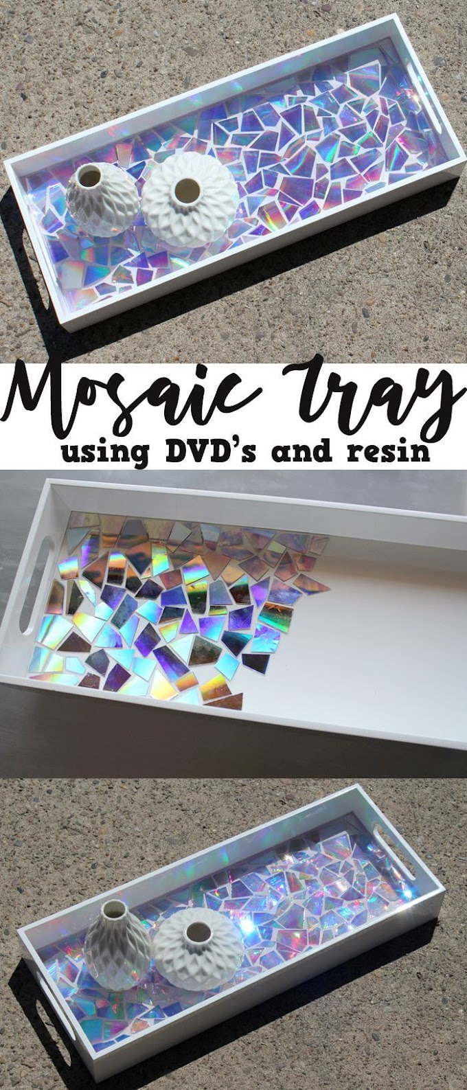 This DVD Mosaic High Gloss Resin Tray makes a statement!