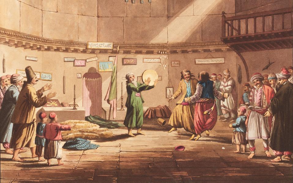 «Ο χορός των Δερβίσηδων στους Αέρηδες», Edward Dodwell (Views in Greece, Λονδίνο 1821).