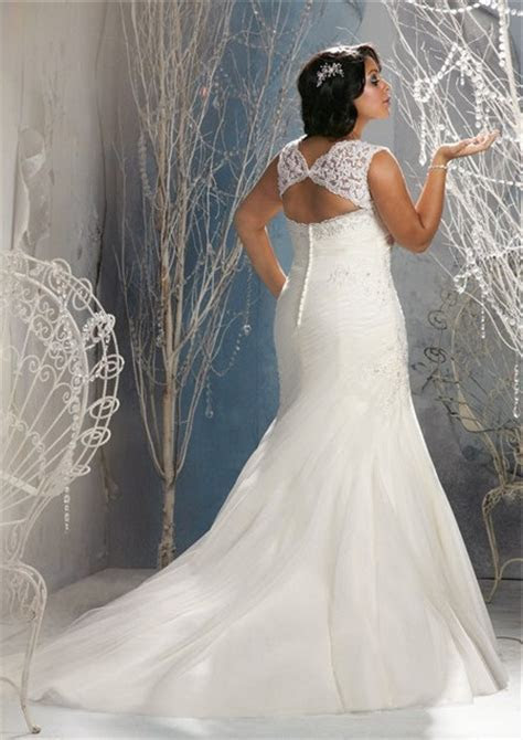 Mermaid V Neck Keyhole Open Back Organza Lace Draped Plus