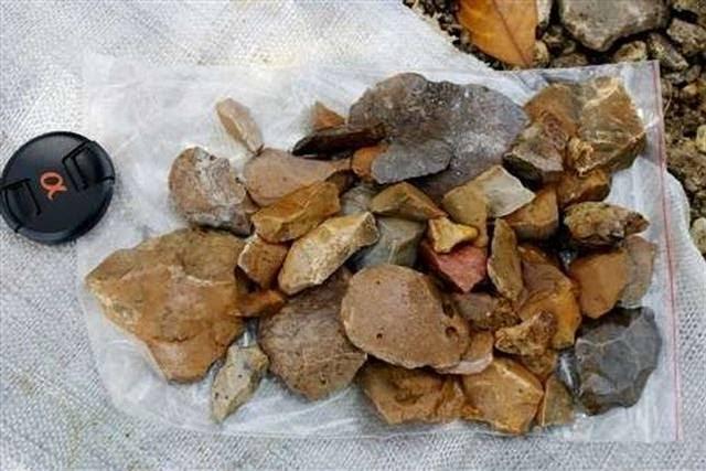Artefactos de piedra hallados en Sulawesi.