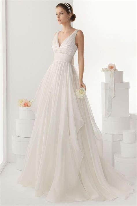 Sexy V Neck Backless Bowknot Chiffon Wedding Dress Cheap