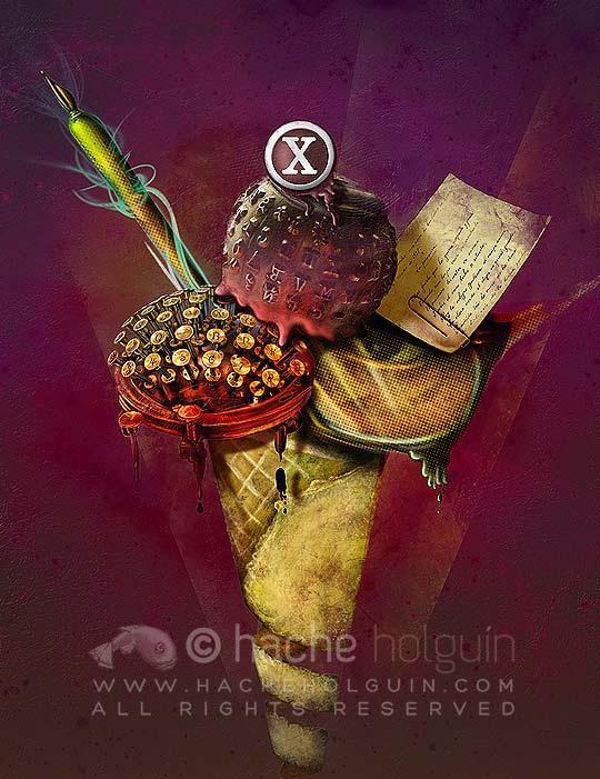 Ilustración aniversario Libros & Letras por Hache Holguín