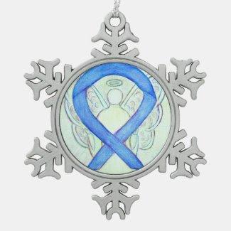 Blue River Awareness Ribbon Angel Ornament