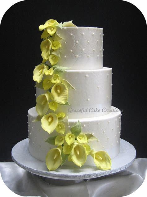 Yellow Calla Lily Wedding Cake   CakeCentral.com
