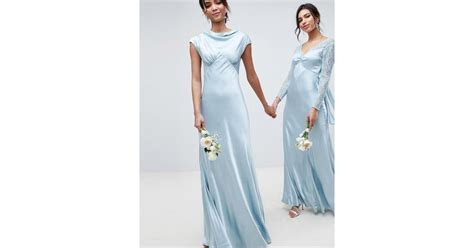 Ghost Bridesmaid Maxi Dress With Cowl Neck in Blue   Lyst