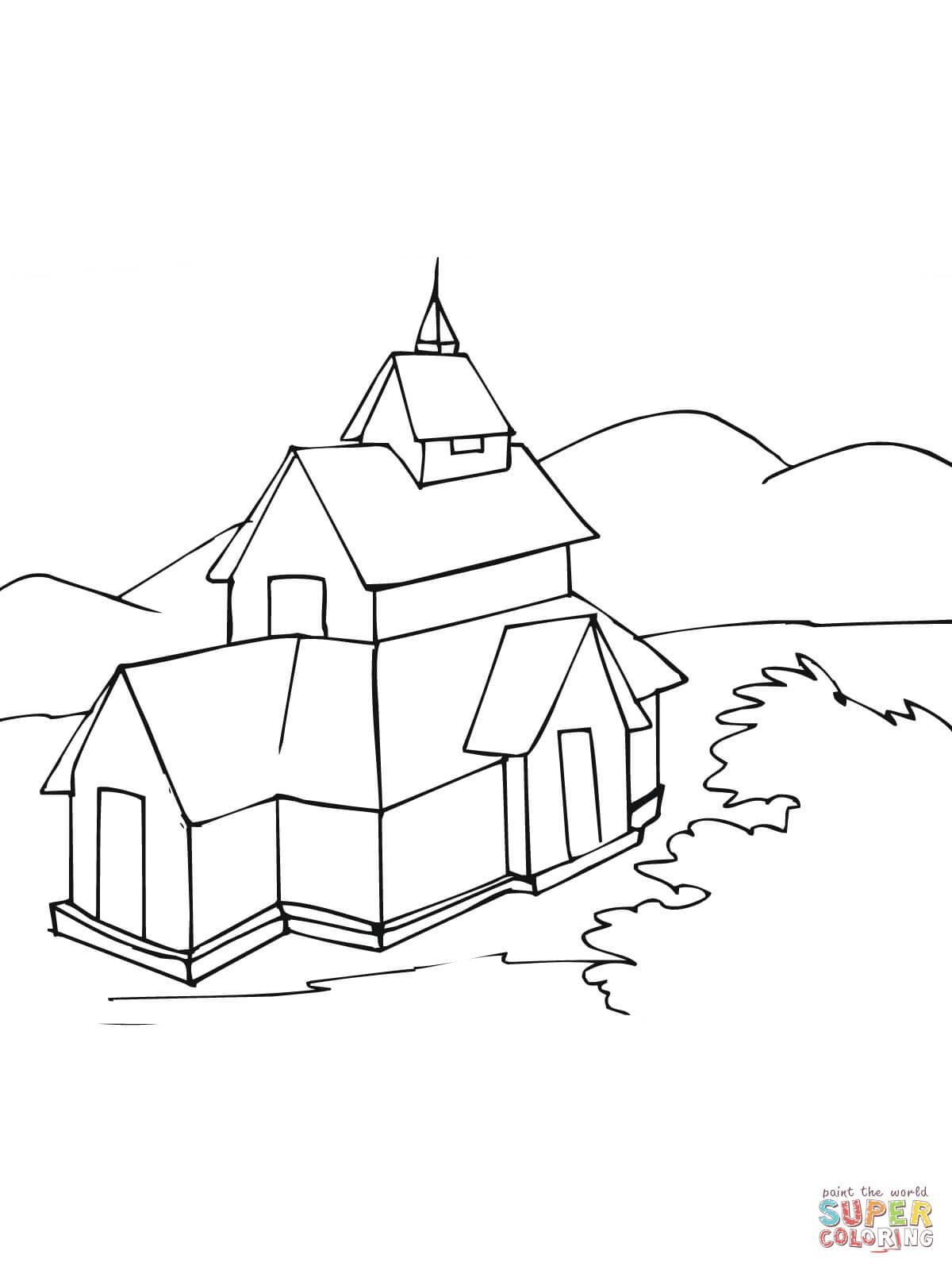 Dibujo De Stavkirke Iglesia De Madera Noruega Para Colorear
