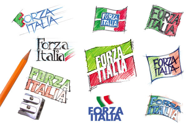 Alcuni dei bozzetti elaborati da Priori sul tema Forza Italia (al centro il disegno adottato)