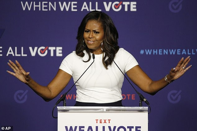 Michelle Obama goes all in for full-scale absentee balloting nationwide and challenges Donald trump's claim it favors Democrats saying there is 'nothing partisan' about keeping voters safe