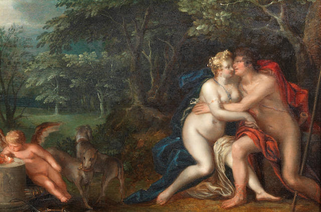 Circle of Paulus Moreelse (Utrecht 1571-1638) Venus and Adonis