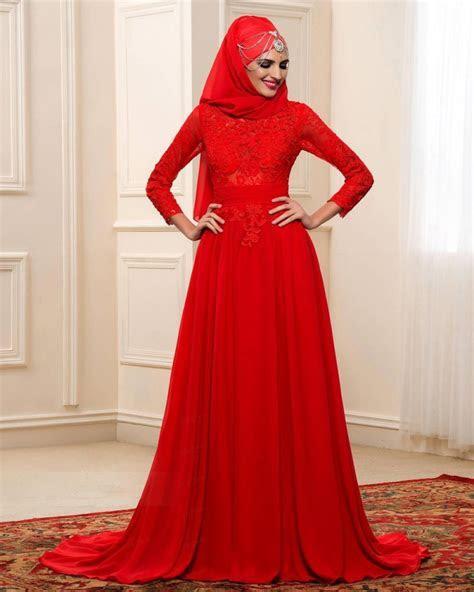 Arabic Muslim A Line Wedding Dresses Red Colour Long