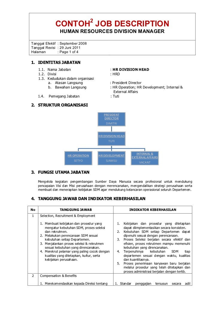 Contoh Job Description Dan Job Specification Sekretaris