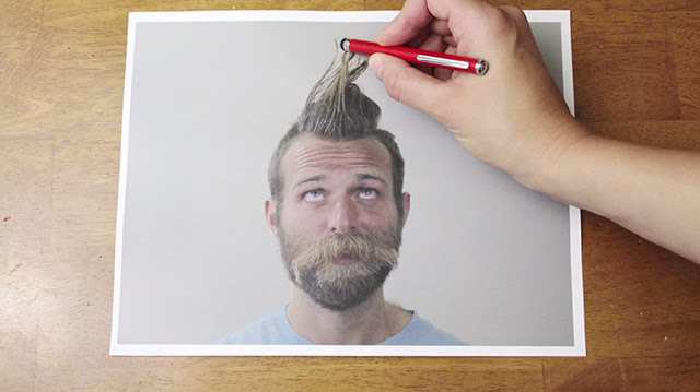 Ballpoint Barber: A Stop Motion Reverse Haircut by Peter Simon stop motion humor drawing beards