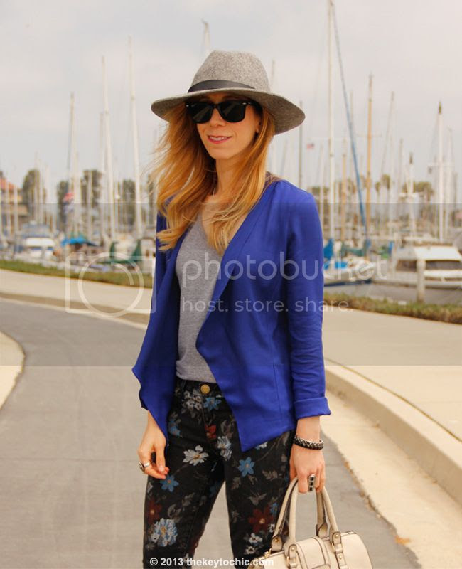 Los Angeles fashion blogger wearing gray wool fedora hat from Target, American Apparel top, jacket c/o Wallis, Current/Elliott floral stiletto jeans