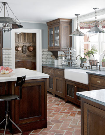 Kitchen Dark Cabinets White Subway Tile Blue Gray Walls ...