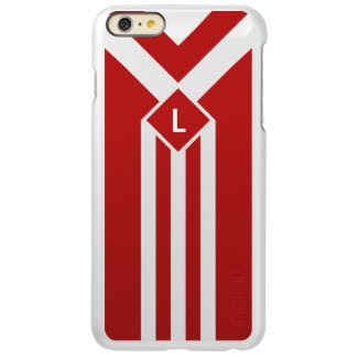 White Stripes and Chevrons on Red with Monogram Incipio Feather® Shine iPhone 6 Plus Case
