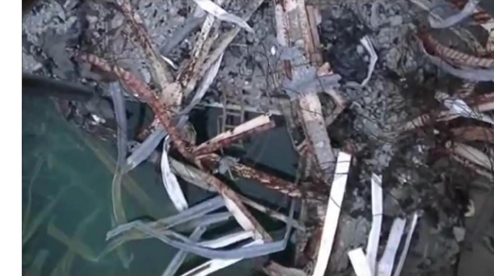 Fig. 51 : Vue de l'angle sud-ouest de la piscine de combustible (capture de vidéo)