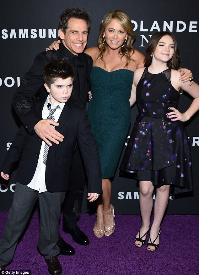 Nearest and dearest: Stiller was joined by his wife Christine Taylor and their children Quinlin and Ella