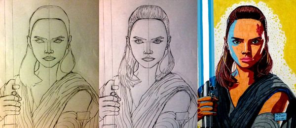 Work-in-progress photos of my Rey drawing.