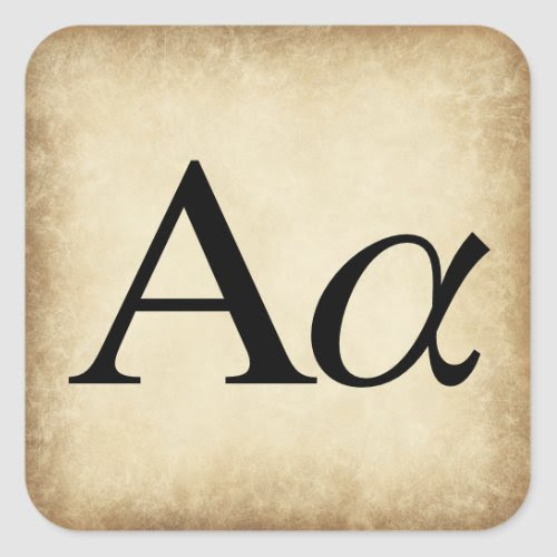 Greek Alphabet Letter Alpha Square Sticker