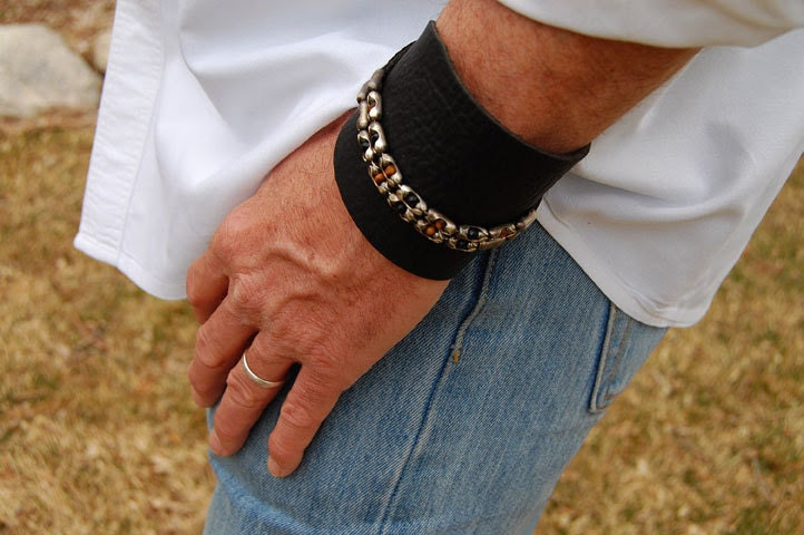The Rugged Gentleman, Men's Leather Bracelet ,Mens Sterling Silver, Chain Cuff, Stone Bracelet, Mens Leather Bracelet, Wrap Bracelet