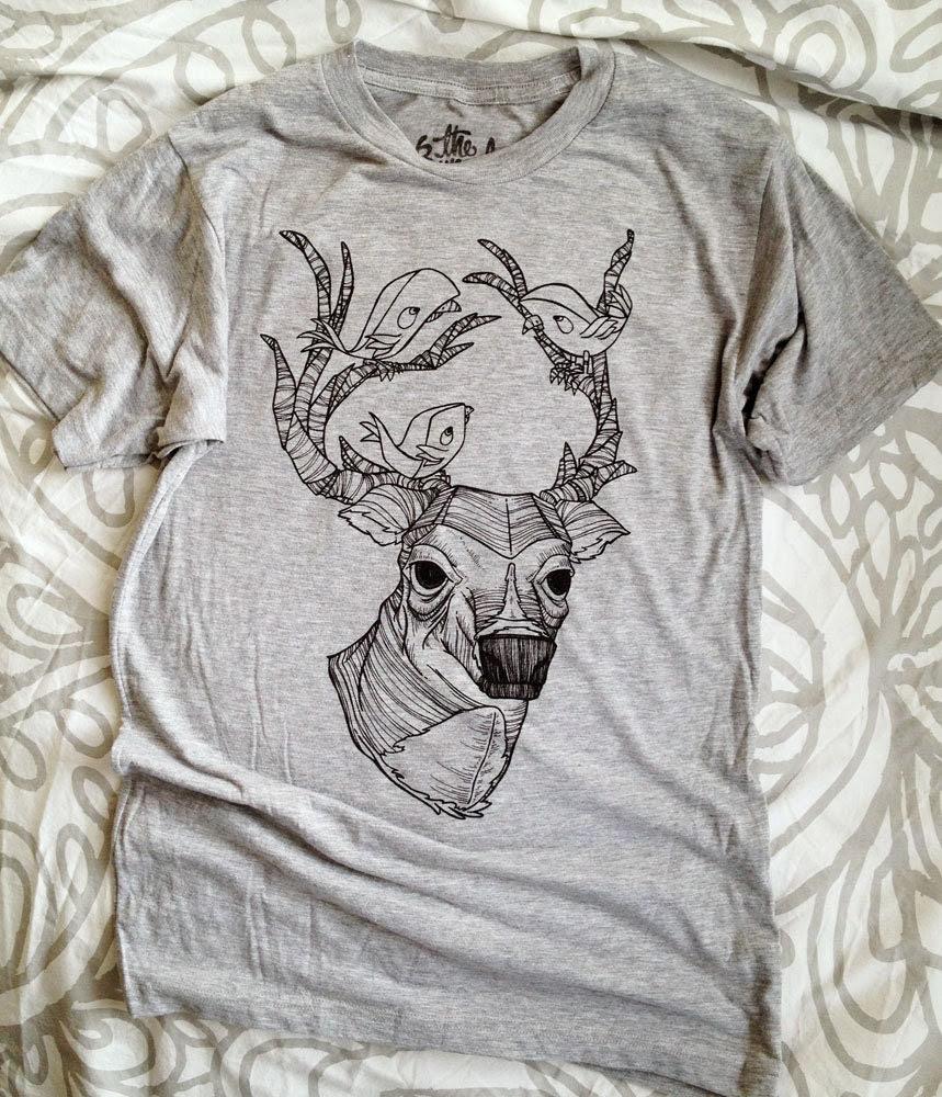 Deer & Birds T Shirt // Heather Grey Tri-Blend